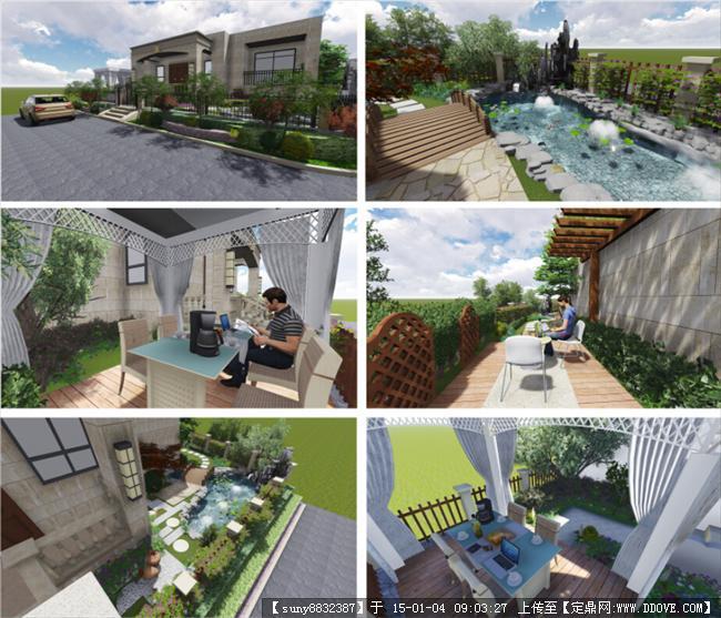 碧湖云溪别墅庭院景观设计su模型