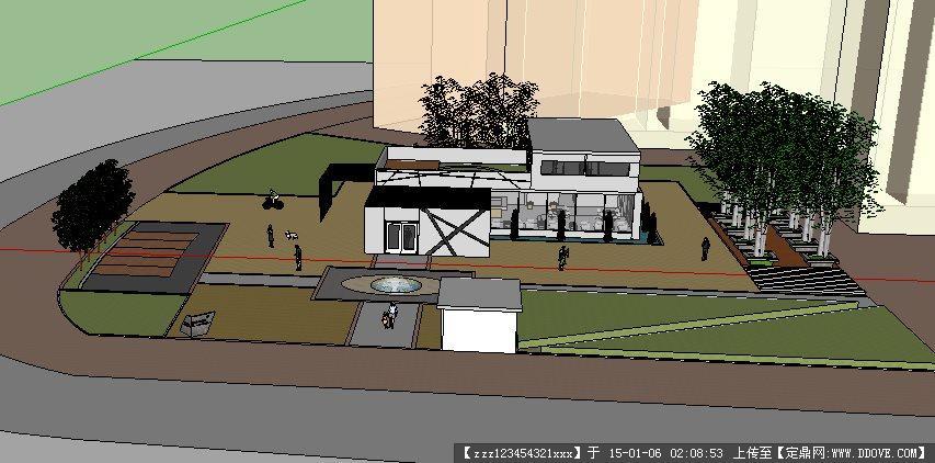 售楼处外围景观设计方案su模型