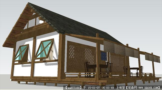 茶楼门头效果图-茶室店面建筑方案SU精品设计模型