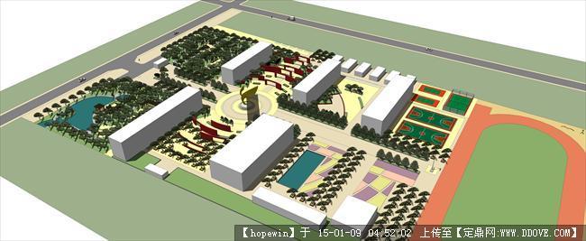 校园景观设计方案su效果图尺寸小