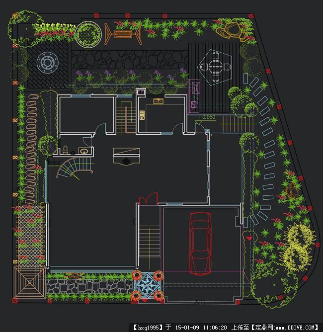 别墅庭院景观绿化平面图-model.jpg
