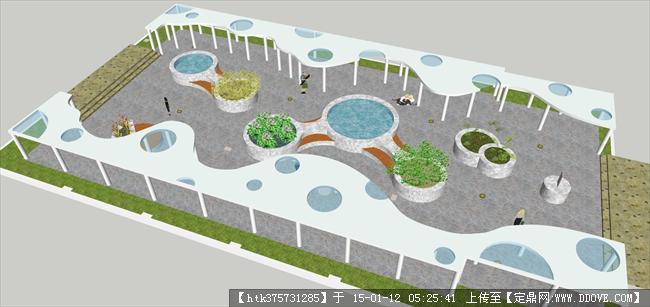中庭小广场设计su模型