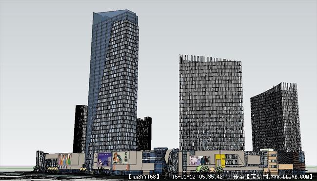 高端商业综合体su精品建筑设计模型