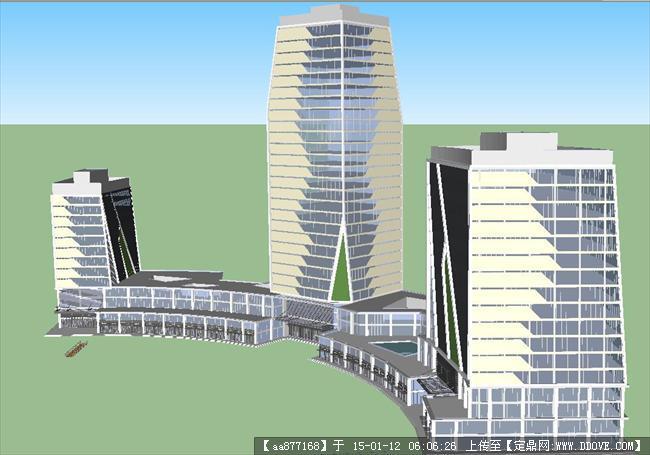 酒店塔楼综合体su精品建筑设计模型