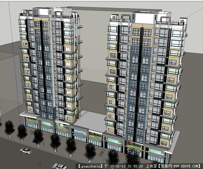 现代简约风格su高层住宅精品su模型简约风格加底层商业设计