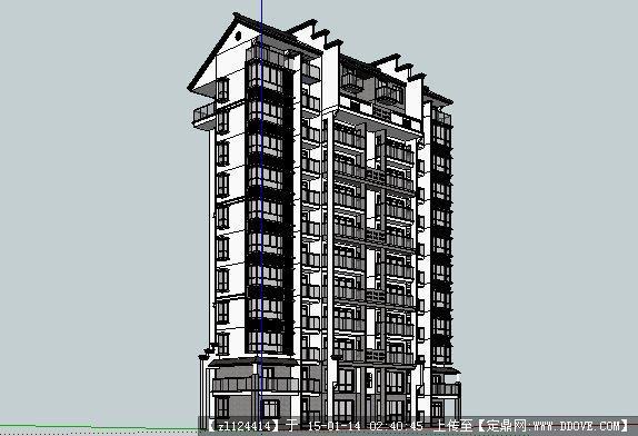 定鼎网 定鼎素材 sketchup草图大师模型 建筑模型 新中式小高层住宅su图片