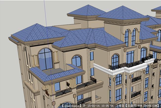 层住宅模型坡屋顶