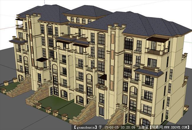 经典欧式风格建筑su多层住宅模型