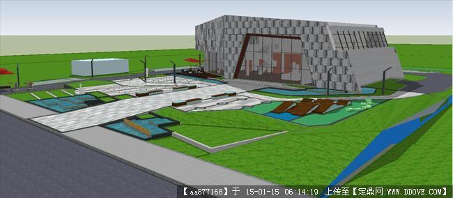 超现代售楼部建筑与景观方案su精品设计模型