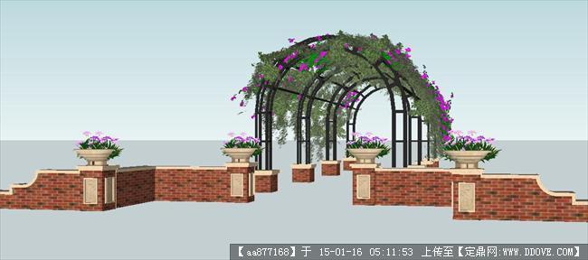 景观廊架手绘设计说明