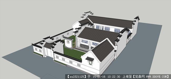 仿古建筑新农村建筑设计su模型