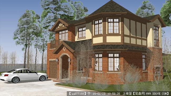 2层英式别墅su精细场景模型