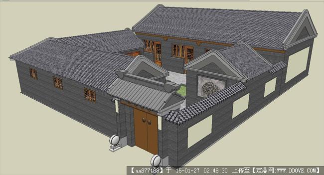 中式古建四合院su精细场景模型