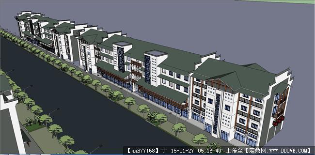 新中式商业街su精品设计模型