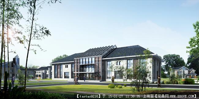 两层综合办公楼设计CAD平立剖加效果图高清图片