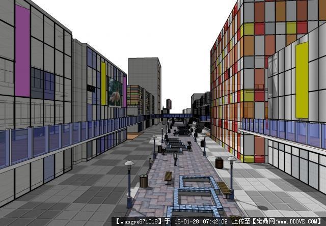 现代风格商业街景观设计su模型