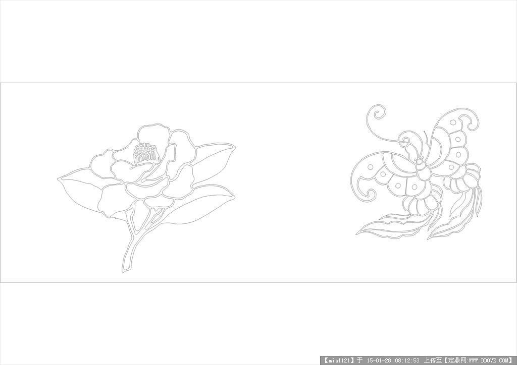 蝴蝶和花cad图案的下载地址,cad图块,模纹,园林建筑