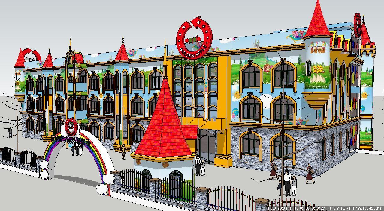 欧式小区配套幼儿园建筑su(草图大师)精致设计模型