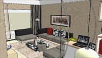 客厅家装效果SU(草图大师)室内装饰设计精品模型