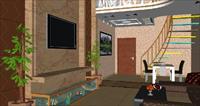 客厅SU(草图大师)室内装饰设计精品模型