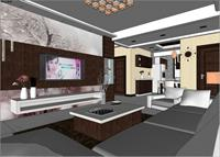 客厅及餐厅设计SketchUp室内装饰精品模型