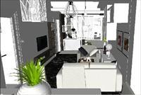现代时尚客厅SketchUp精细设计模型