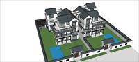 Sketch Up 精品模型---中式大双拼别墅