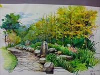 公园景观手绘作品