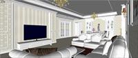 客厅效果图SU(草图大师)精致设计模型