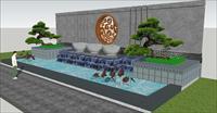 中式大型景墙SU(草图大师)精致设计模型