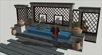 东南亚风格景墙SU(草图大师)精品建筑设计模型